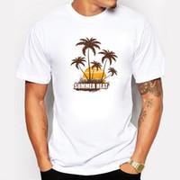 2017夏ヒート半袖メンズTシャツサンシャインヤシの木プリントクールTシャツ男性カジュアルコットンプラスサイズTシャツ