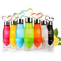 크리 에이 티브 과일 주스 Infuser 물 병 650ML 물 플라스틱 휴대용 레몬 주스 병 물 야외 스포츠 음주 컵