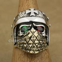 LINSION стерлингового серебра 925 мотоцикл шлем череп кольцо Зеленый Красный CZ глаза латунь Маска мужская байкер рок-панк TA31 США размер 7 до 15