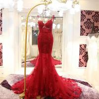Spagetti Sapanlar Uzun Mermaid Backless Dantel Kırmızı Abiye 2019 Kadın Aplike Dantel Balo Abiye Robe de Soiree