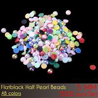 Abalorios semipreciosos de la parte posterior plana del ABS 5m m Perlas plásticas de la perla de la media vuelta del color AB 2000pcs / Set con el envío libre