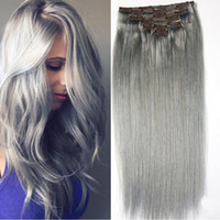 Pure Grey Clip In Human Hair Extensions 70g 7pcs Set Silver ...