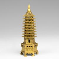 Chinois tibet temple bouddhisme en laiton Wenchang Tour chedi stupa statue de la pagode décoration en métal artisanat