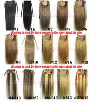 """ZZHAIR 16 """"-32""""100 % 천연 브라질 레미 인간의 머리 포니 테일 말꼬리 클립 인간의 머리 확장 스트레이트 헤어 60g-140g"""