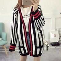 Black Striped Knit Long Cardigans Mulheres Outono manga comprida Mulheres suéteres de inverno Contraste Color Outwear Cardigan