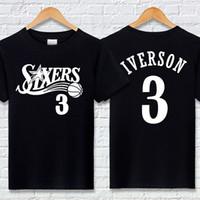 Envío gratis Iverson No.76 camiseta de algodón 3 letras Ptinted manga corta verano baloncesto deportes media manga suelta traje de entrenamiento
