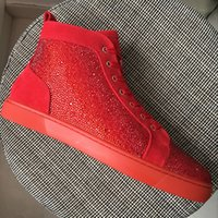 New 2018 men women red suede with red rhinestones red bottom...