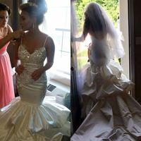 섹시한 백리스 머메이드 웨딩 드레스 아플리케 크리스탈 비즈 브리더 가운 스파게티 네크 라인 스윕 길이 웨딩 드레스
