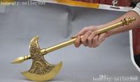 Chino bronce bronce zodiaco bestia animal dorje Vajra hacha Hacha de hacha
