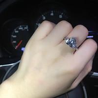 ZHF bijoux vente chaude 4 ct simulé diamant désherbage anneaux, femmes bague, bagues de fiançailles en argent sterling livraison gratuite