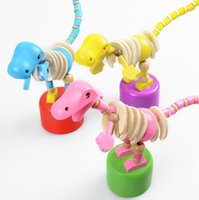 Cute Baby Wooden Rock Dinosaur Push Up toys Standing Dancing...