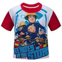 110см-150см Пожарный Сэм Firemans Сэм мультфильм детская одежда красный с коротким рукавом детская чистая хлопок футболки для продажи 4-13 лет