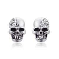 멋진 귀걸이 펑크 패션 골드 실버 톤 크리스탈 다이아몬드 해골 귀 스터드 귀걸이 빈티지 보석 도매 할로윈 선물 로즈