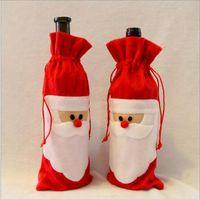 Weihnachten dekorieren für Rotweinflasche Weihnachtsmann Geschenke Tasche Sekttasche Weihnachtsfeier DIY Zubehör für überall Hotel nach Hause