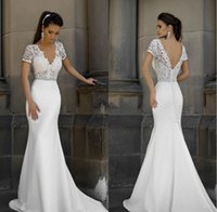 2019 New Short Sleeves Mermaid Sheath Formal Wedding Dresses...