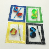 Conjunto Kit de Silicone Com Folhas Quadradas Almofadas Mat 7 ml Lego Ou Rodada Do Recipiente De Óleo Inoxidável Dabber Ferramenta Frascos De Cera