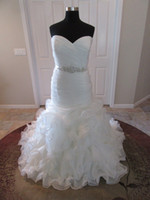 100% Actual Photos Sweetheart Fit and Flare Organza Bridal G...