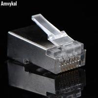 5000pcs / lot Yüksek Kalite Metal Shield RJ45 8P8C Ağ CAT5E Modüler Tak RJ45 CAT5 Ethernet Lan Kablo Modüler Fiş Adaptörü Bağlayıcı