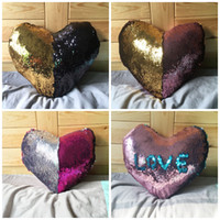 Mermaid Heart- shaped Sequins Pillow Case Color Change Sofa C...