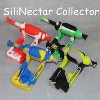 Mini kits de colectores de néctar de silicona de 10 mm con tijeras sin cúpula Colector de nector de uñas plataformas petroleras bongs de vidrio Tubos de agua de vidrio bong de silicona DHL