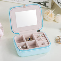 2018 Korean Style PU Leather Jewelry Box Women Earring Ring Necklace Storage Box Jewelry Storage Organizer Container Mini Jewelry Boxes