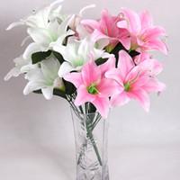 43cm 향수 릴리 10 머리 실크 플라워 플라스틱 시멘트는 결혼식, 집, 파티, 선물용 인공 꽃을 남깁니다
