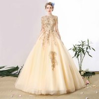 SSYFashion Champagne Gold Lace Evening Dress Bride Banquet E...