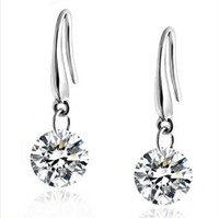 Joyas finas Pendientes de gota cuelgante 100% genuino 925 Plata esterlina de ley Austrian Crystal Fashion Traje EARRING