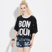 Women T Shirt Loose Sequined Tee Shirt Femme Poleras De Muje...