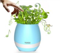 2017 Nouveau TOKQI Smart Flower Pot Mini haut-parleurs Bluetooth Home Office Decoration Green Plant Music Vase Touch Induction Creative Music Toys