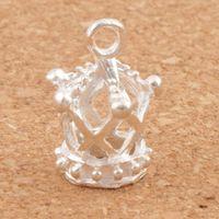 Silverpläterad ihålig 3d Imperial Crown Charms 80pcs / Lot 13x17mm Hängsmycken Smycken Resultat Komponenter Smycken DIY L392
