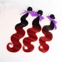 Neue Art und Weise 3 bündelt Wellen-Haar-Einschlagfarbe 1b / rote synthetische Haar-Webart-Verlängerung für vollen freien Verschiffen des Kopfes