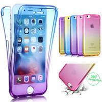 Cor gradiente ultra fino 2em1 macio tpu case para iphone x 8 plus 360 proteção de corpo inteiro fino transparente gel capa à prova de choque da pele