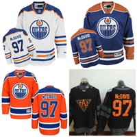 Maillots de hockey sur glace 2016 de la Coupe du monde de l'Amérique du Nord pour les Oilers d'Edmonton 97 Connor McDavid Authentic Royal Home Maillot Blanc Surpiqué Orange