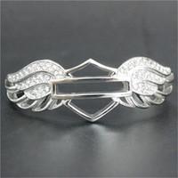 1 ADET Destek Dropship Yeni Kristal Kanatları Motosikletler Bilezik 316L Paslanmaz Çelik Sıcak Satış Biker Stil Açı Kanatları Bilezik