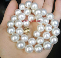 "Fine Pearl Jewelry 17 ""14-16mm REAL naturale rotonda south sea bianco collana di perle in oro 14K"