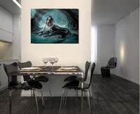 Single Unframed Green Mermaid Figure Painting Картина маслом на холсте Giclee Wall Art Painting Art Picture Для дома Decorr