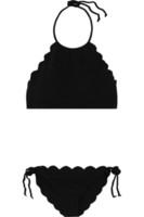 Sexy Bikini Bademode Frauen 2016 High Neck Schwarz Bikini Set überbacken Neckholder Badeanzug Runde Trim Badeanzug Beachwear S-XL