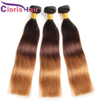 Blonde Ombre Sew In Hair Extensions Silky Straight Brazilian...