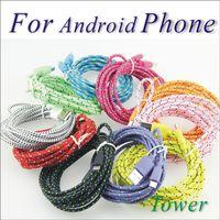 500PCS / الكثير الهاتف الخليوي الكابلات 1M 2M 3M جولة قماش مزين النايلون مزامنة البيانات USB كابل 3FT و 6ft 10FT الحبل شاحن شحن