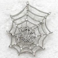 12pcs / lot en gros cristal strass araignée sur les broches Web Costume de mode Pin broche pendentif pendentif bijoux cadeau C262