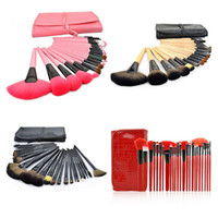 6 Types Professional 24 pcs Makeup Brushes Set Charming Red ...