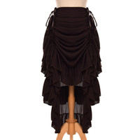 Retro Women Ruffled Cosplay Chiffon Skirt Vintage Victorian ...