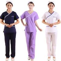 여성 짧은 소매 스크럽 세트 모의 랩 V 넥 탑 & 바지 / 미용사 작업복 / 치과 작업 코트