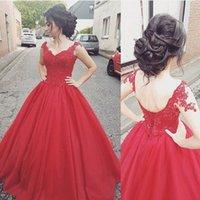 Charmig röd lång prom klänningar applikationer pärlor sexig v-hals spets-up boll kappa golv längd lager tulle quinceanera party klänningar