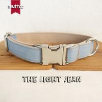 MUTTCO collier self-design pour chien THE LIGHT JEAN collier à la main wathet bleu et blanc 5 tailles collier pour chien UDC034