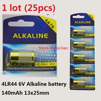 25pcs 1 Los 4LR44 476A 4A76 A544 V4034PX PX28A L1325 6V trockene alkalische Batterie 6 Volt Batteriekarte Freies Verschiffen