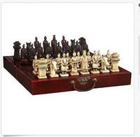 Gros pas cher chinois 32 pièces d'échecs ensemble / boîte / Xian Terracota Warrior