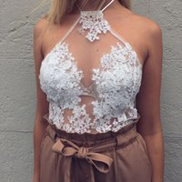Nadafair Elegant White Lace Crop Top Summer Beach Backless S...