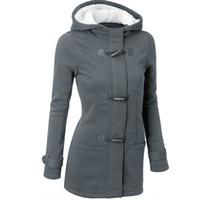 Großhandel - Frauen Trenchcoat 2017 Frühling Herbst Frauen Mantel Weibliche Lange Kapuze Mantel Reißverschluss Hupe Button Wolle Beiläufige Dicke Outwear